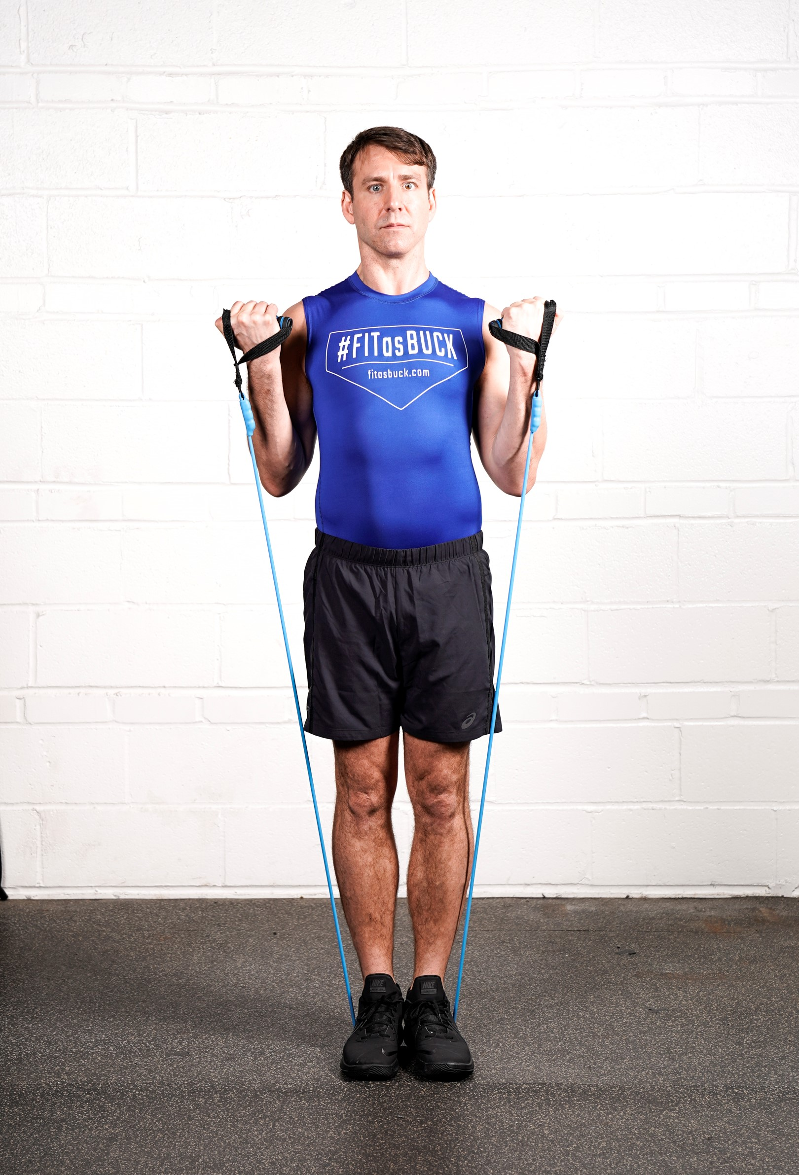 Resistance Band Biceps Curl Hold (All the way) - - DURATION: 30 seconds- SETS: 1