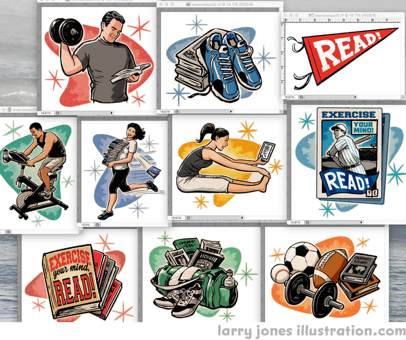 Exercise Your Mind- READ! retro spot illustrations