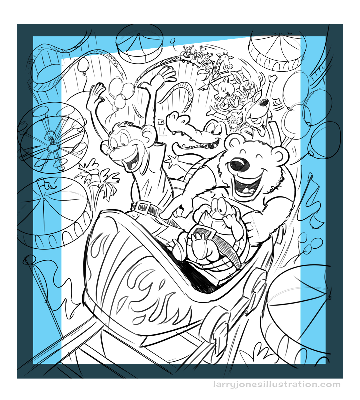 Here's the original sketch with cropped areas indicated for cover and interior activity pages.