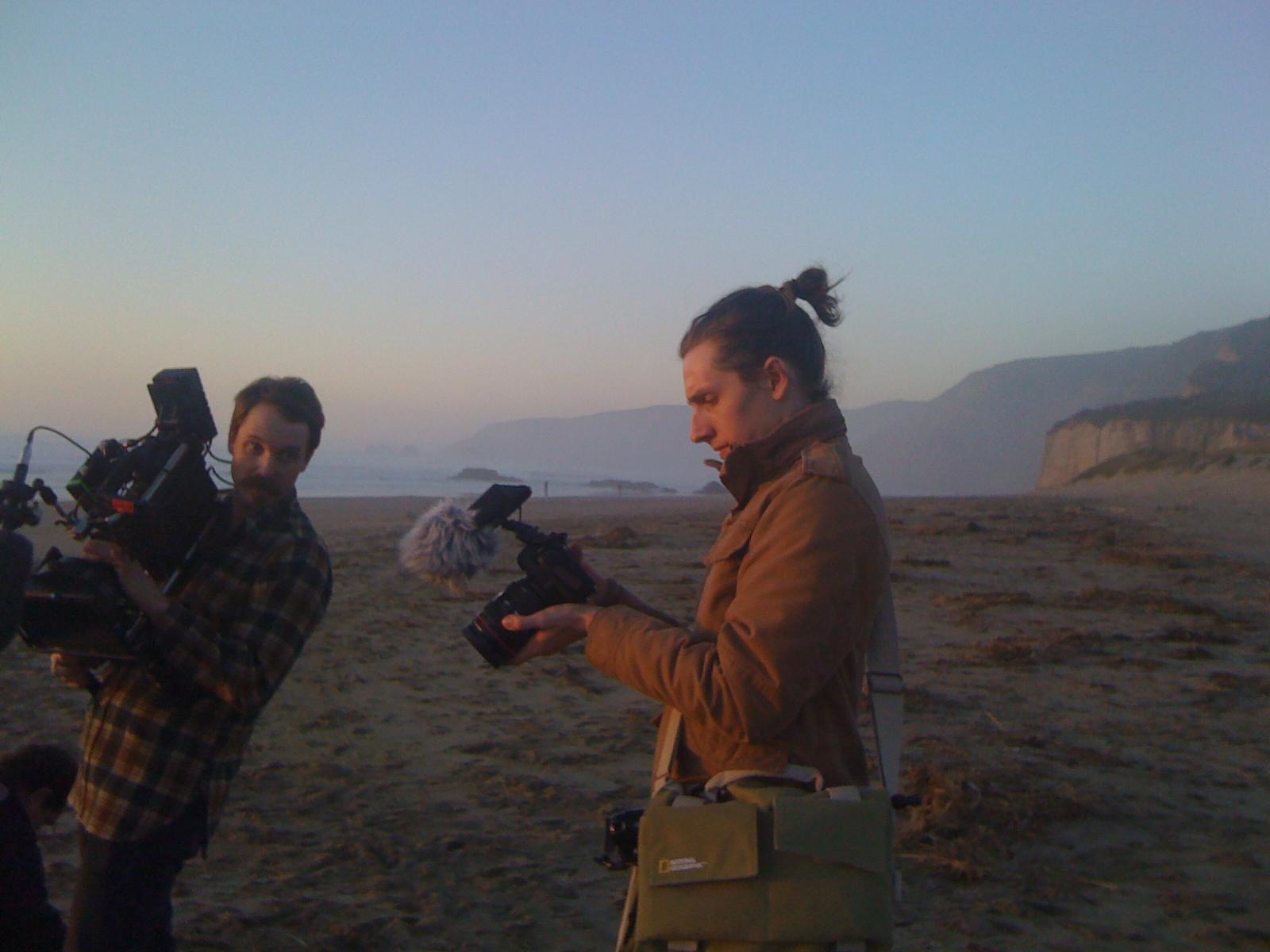 Vern Moen and John Raines shooting our art couple on Kehoe Beach near San Francisco, CA.