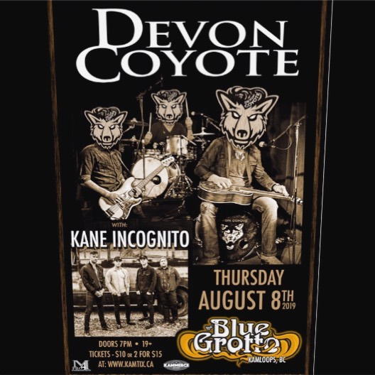 KAMLOOPS!  We've got a really cool Original Showcase coming up next week at  @thebluegrotto_livemusic !  Thursday Aug 8 we're rippin' it up with @kane_incognito from #edmonton . . #devoncoyote #kaneincognito #kamloops #kammercepromotions #mpro4entertainment #august8th