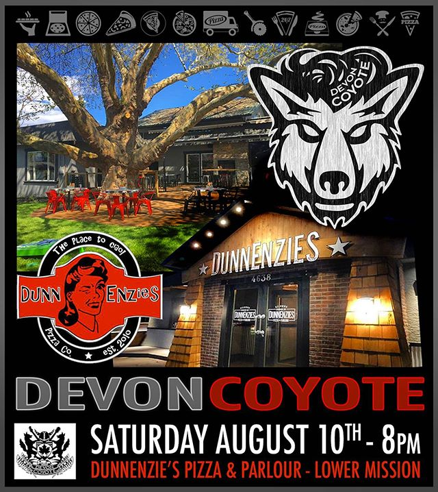 "SATURDAY NIGHT we are back at the good ol' ""Minstrel Cafe"" to rock @dunnenzies awesome new Pizza & Parlour in the mission!  We had a lot of great shows here back in the day and we're excited to begin the next chapter of this storied building! #bigtree #pizza #devoncoyote #dunnenzies"