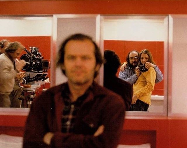 "Iconic director Stanley Kubrick pretends to take a photo of Jack Nickelson, during the filming of ""The Shining"" but takes a selfie instead.  #filmmaking #film #stanleykubrick"