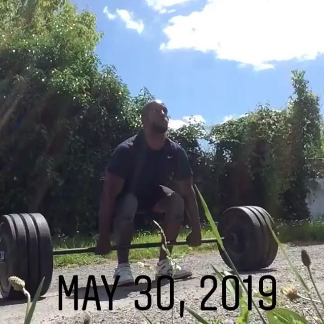 "100kg (220Ibs)Squat Clean. Can't wait until I can cycle this with power cleans one day🤷🏿‍♂️ Some more fitness to try 7 Rounds for time 6 Push Press (50kg/115Ibs) 9 Abmat Sit Ups 12 Push Ups 200m Run My Time: 13 minutes and 46 seconds -Rest 5 minutes then-  Workout B Its a chipper!  20 Single Arm Dumbbell Overhead Squat (22.5kg/50Ibs) 30 Single Arm Dumbbell Lunges (22.5kg/50Ibs) 10 Clean and Jerks (60kgs/135Ibs) 25 Hang Cleans (40kgs/95Ibs) 2000m Run (1 mile + 400m) 10 Clusters (70kg/154Ibs) 20 Box Jump Overs (60cm/24"") My Time: 24 minutes 12 seconds.  #crossfit #fitness #workout"