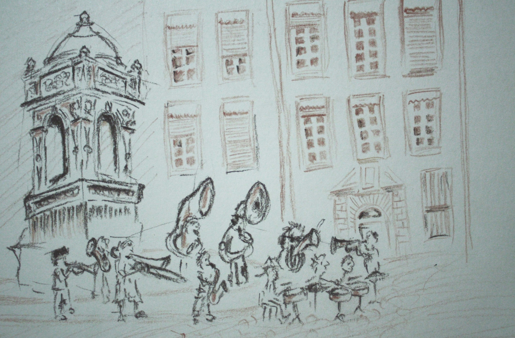 Sketch of street performers in Lyon - by J Khan (these guys were very in tune)