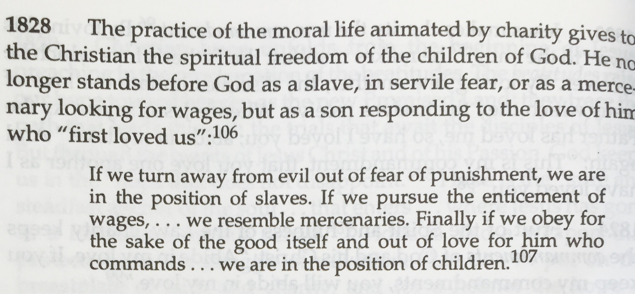 The Catechism on the Virtue of Charity, with a quote from Saint Basil.