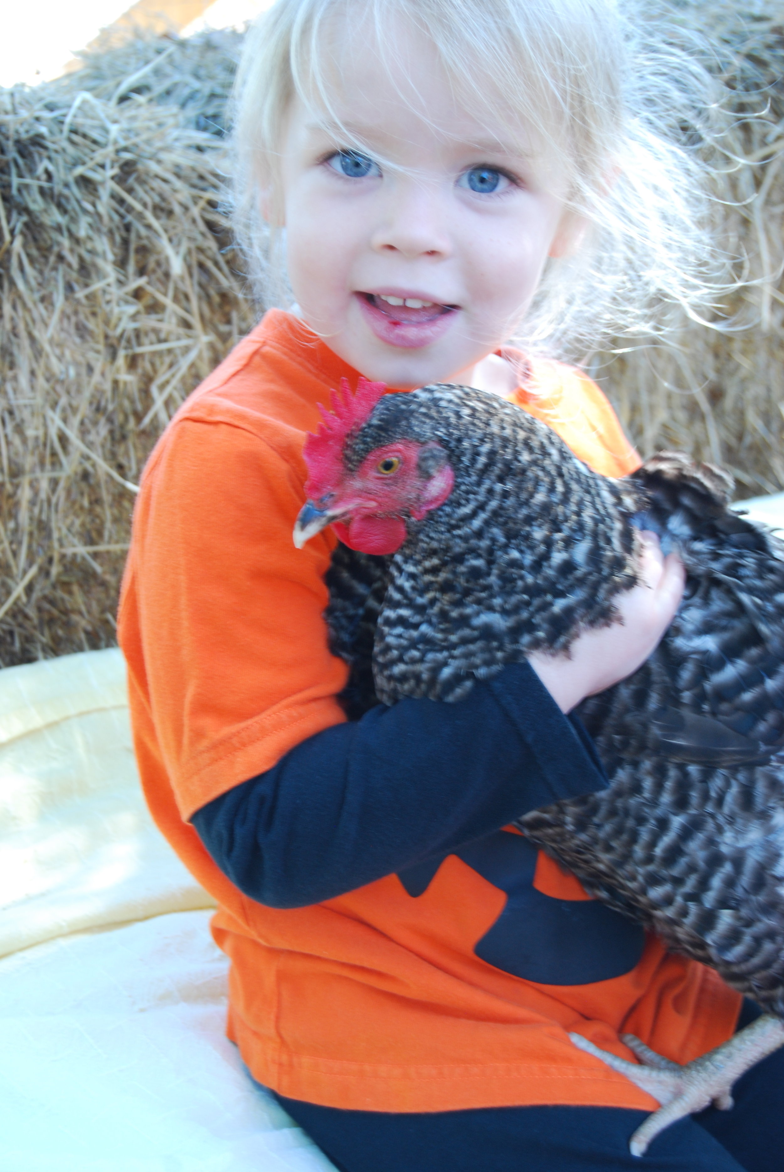 It's a chicken and my oldest daughter.