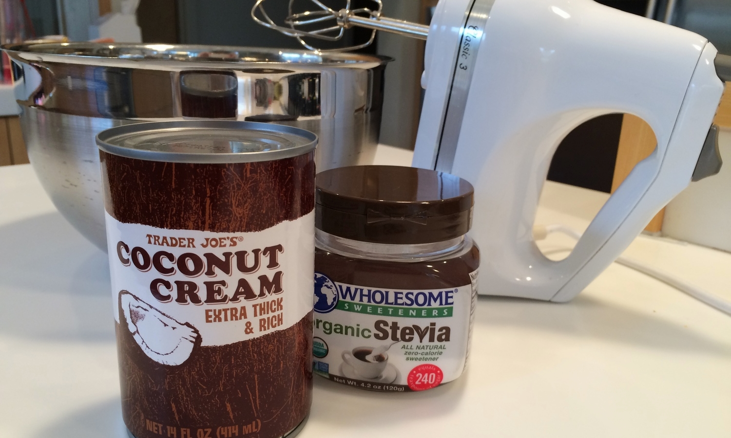I especially like this coconut cream from Trader Joes, but any full-fat coconut milk will do the job.