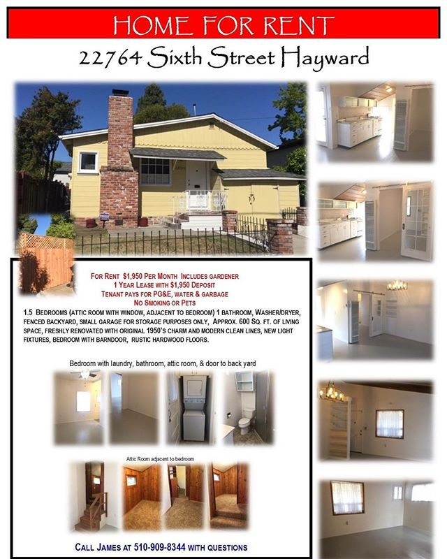 ⭐️FOR RENT⭐️ . $1,950 PER MONTH  INCLUDES GARDENER. 1 YEAR LEASE WITH $1,950 DEPOSIT  TENANT PAYS FOR PG&E, WATER & GARBAGE  NO SMOKING OR PETS  NO SECTION 8 . 1.5  BEDROOMS (ATTIC ROOM WITH WINDOW, ADJACENT TO BEDROOM) 1 BATHROOM, WASHER/DRYER, FENCED BACKYARD, SMALL GARAGE FOR STORAGE PURPOSES ONLY,  APPROX. 600 SQ. FT. OF LIVING SPACE, FRESHLY RENOVATED WITH ORIGINAL 1950'S CHARM AND MODERN CLEAN LINES, NEW LIGHT FIXTURES, BEDROOM WITH BARN DOOR,  RUSTIC HARDWOOD FLOORS. . ⭐️OPEN HOUSE⭐️ WEDNESDAY JUNE 7, FROM 5-7:30. . APPLICATIONS WILL BE AVAILABLE. ALL APPLICANTS WILL PAY $30 CASH FEE FOR CREDIT CHECK.