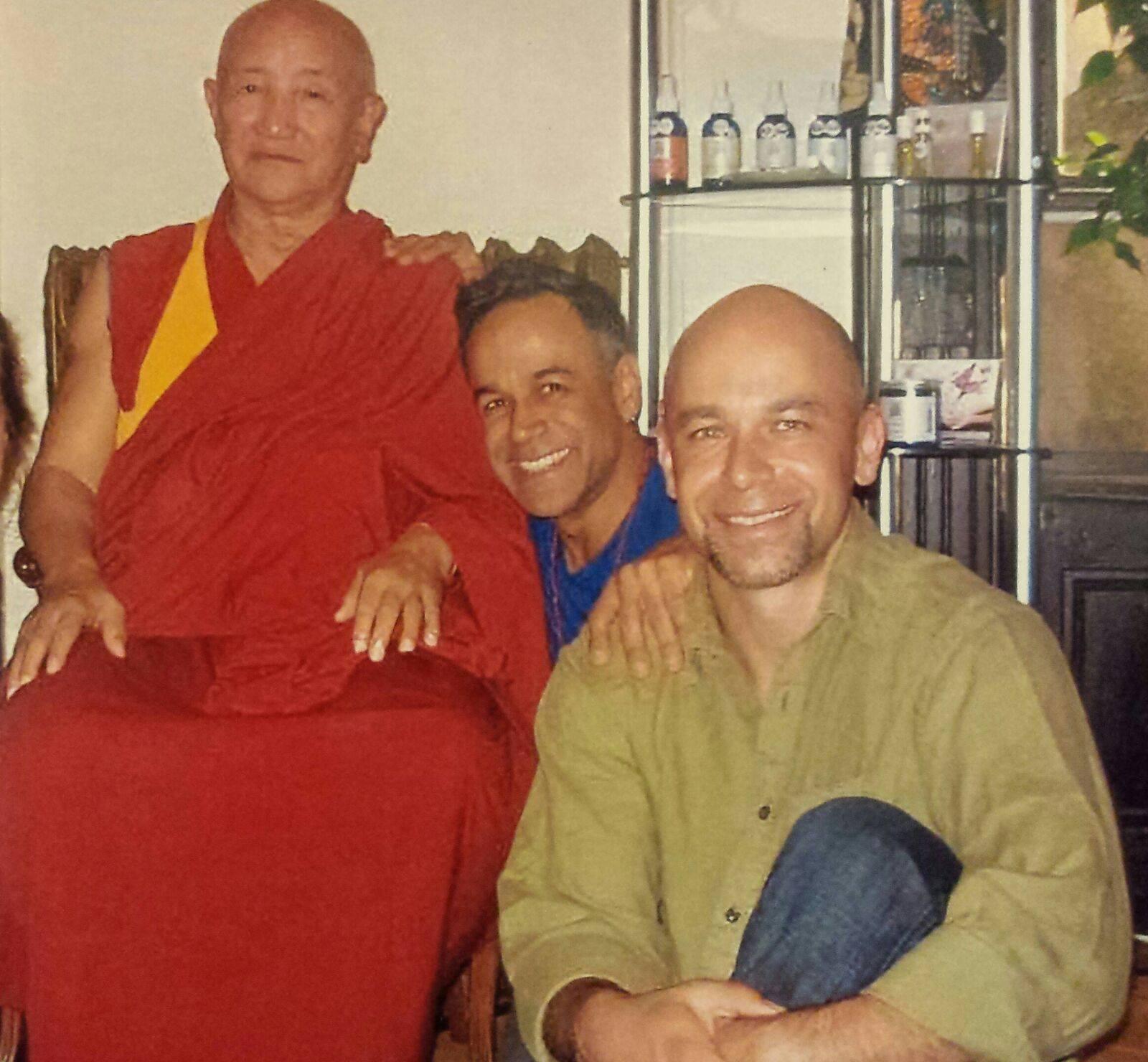 Lama Gyumed Khensur Rinpoche  Lobsang Jampa  with  Vivekan (center) and Bodhisattva Yoga-trained teacher Bill, 2012