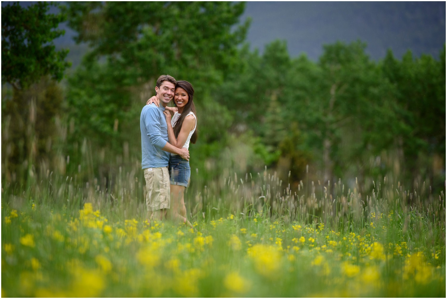 colorado mountain engagement photo in wildflowers