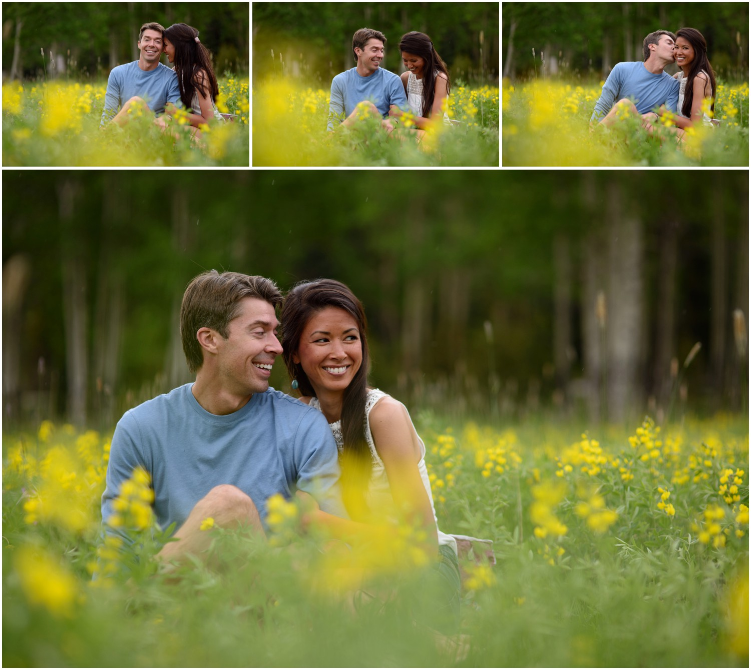 engagement pictures in the flowers