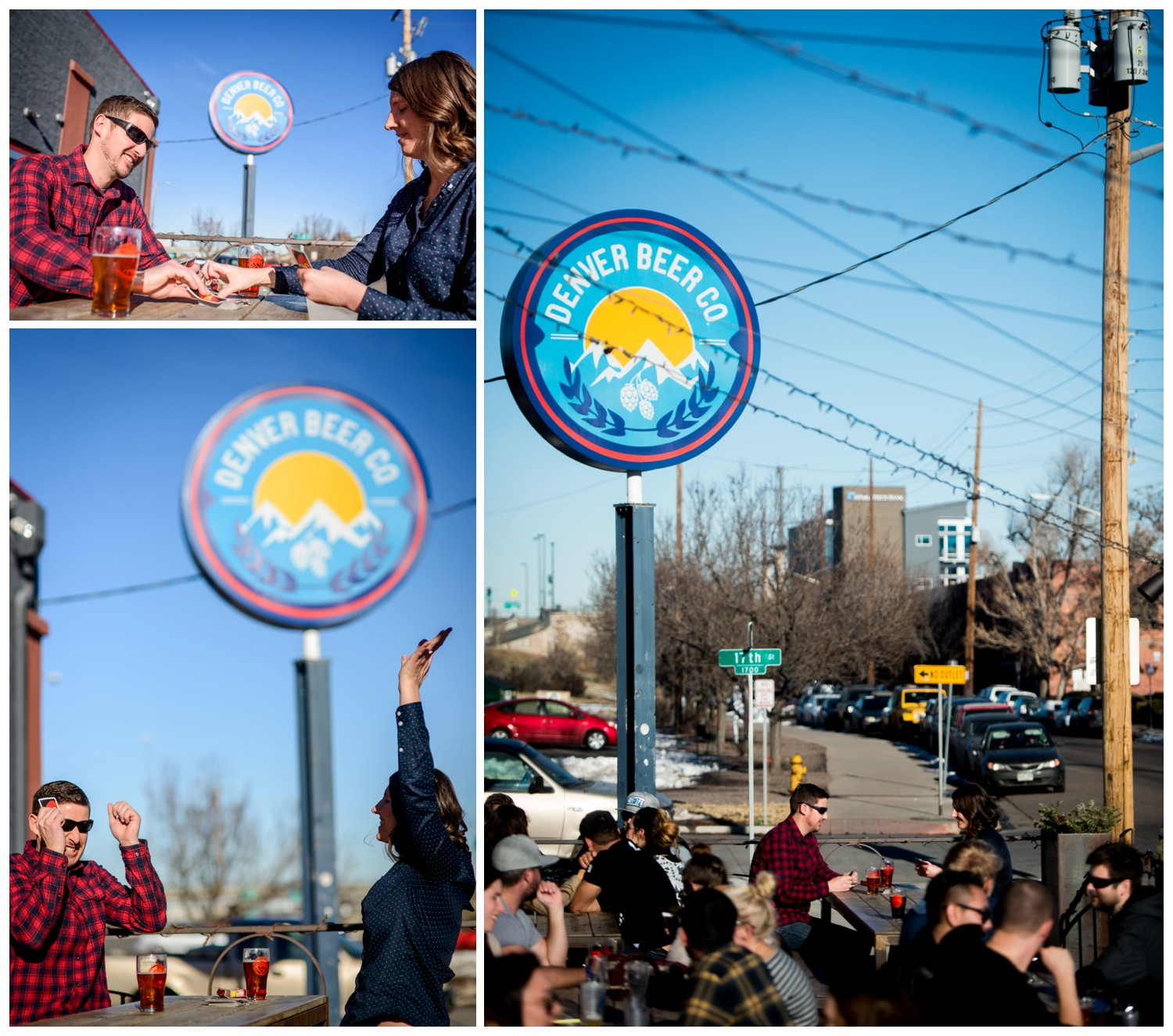 candid engagement photos at Denver Brewing Co