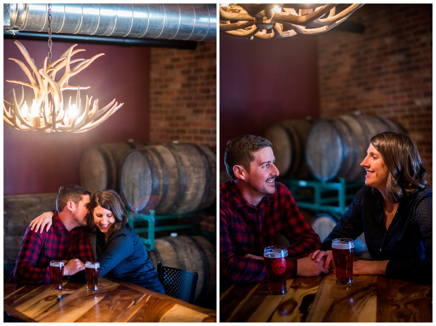 engagement photos inside brewery