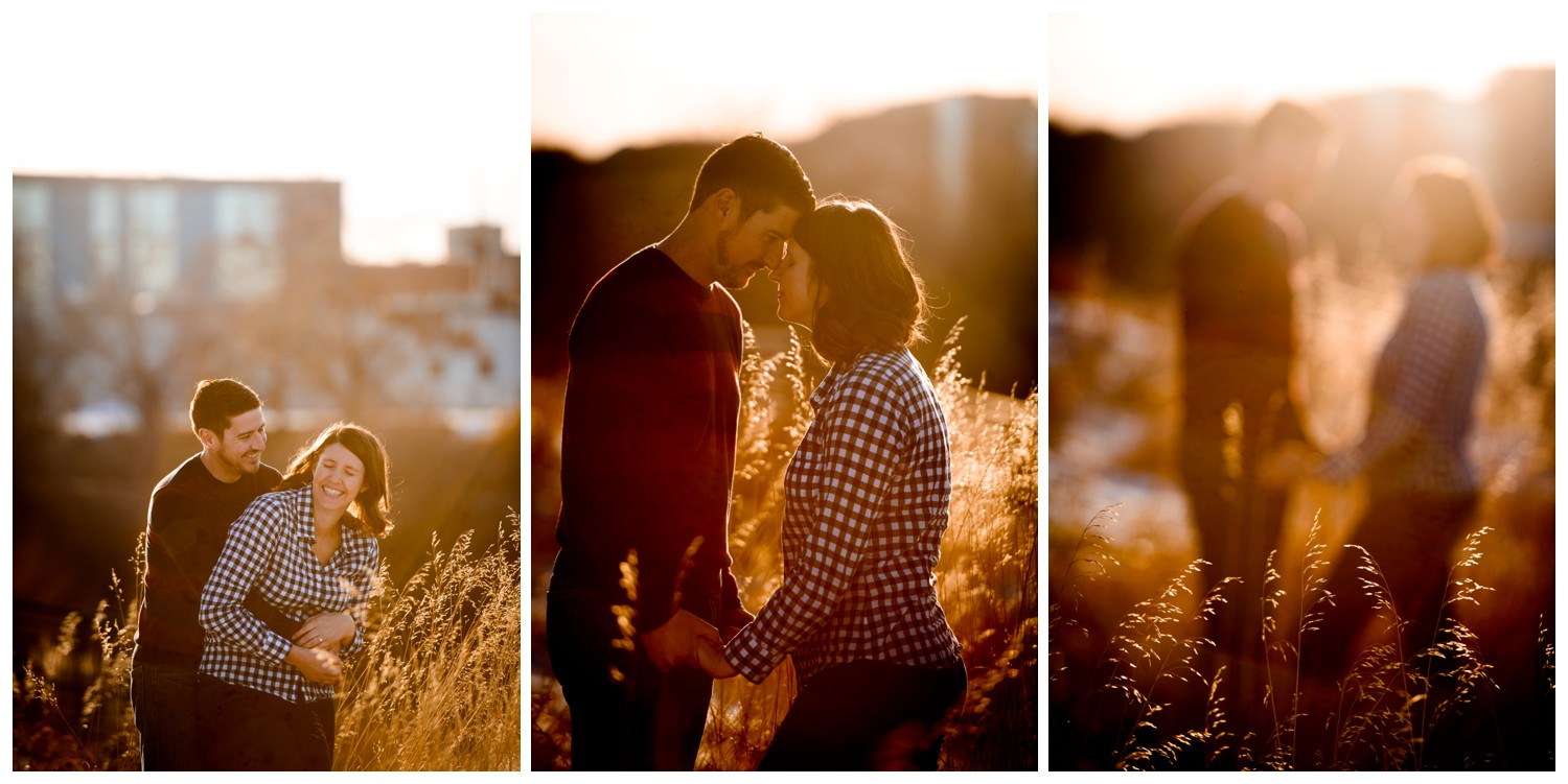 colorado sunset engagement photos in tall grass