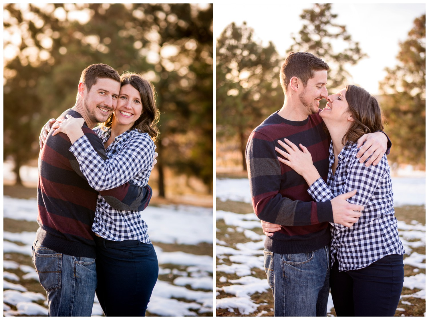 winter engagement photos in front of Pine trees in Denver