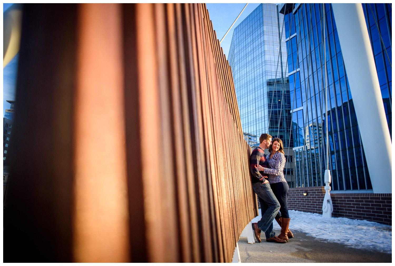 Downtown Millenium Bridge engagement photo