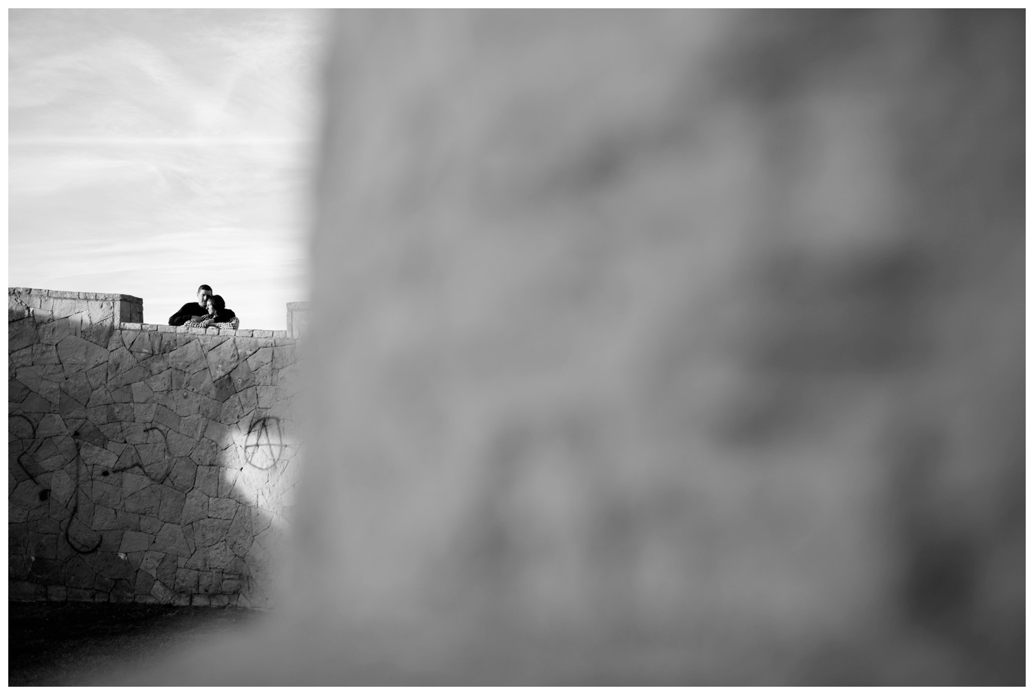 artistic black and white photo of engaged couple in Denver