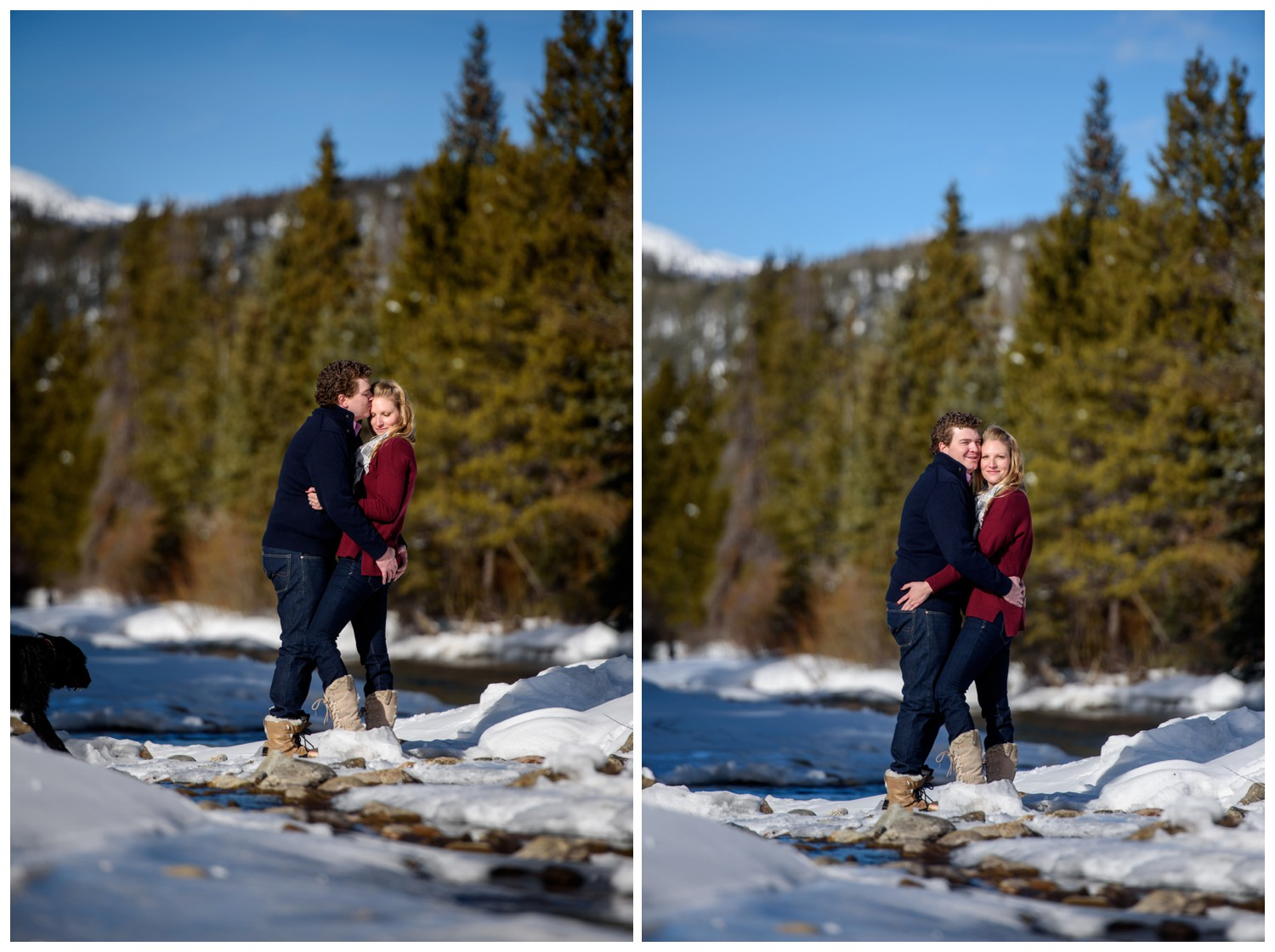 engagement photo of couple standing in river