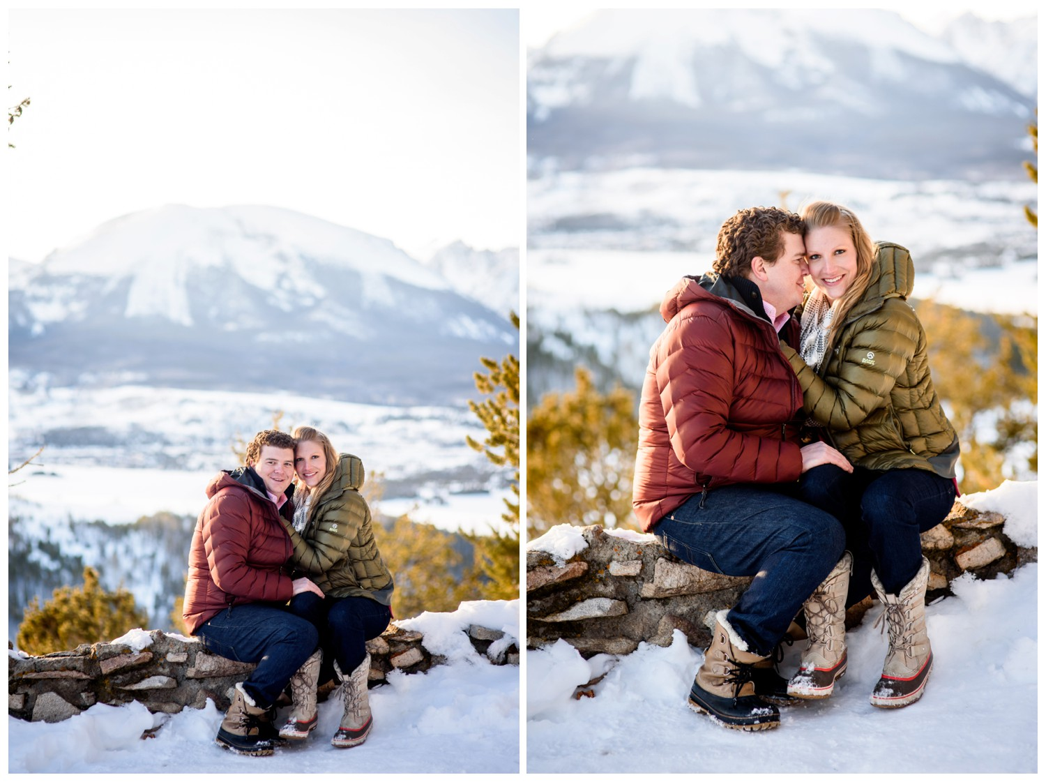 hugging couple on top of winter mountain