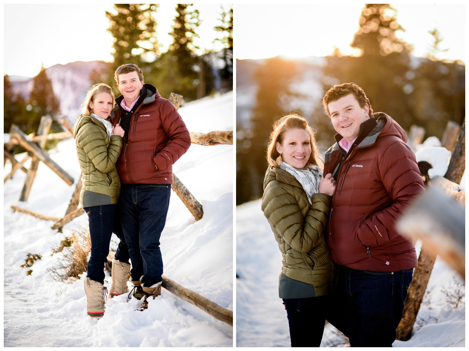 engagement photo of couple leaning against winter wood fence with sunset