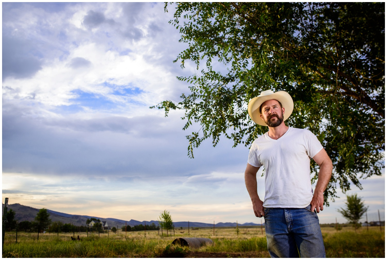 environmental portrait of farmer on ranch Boulder
