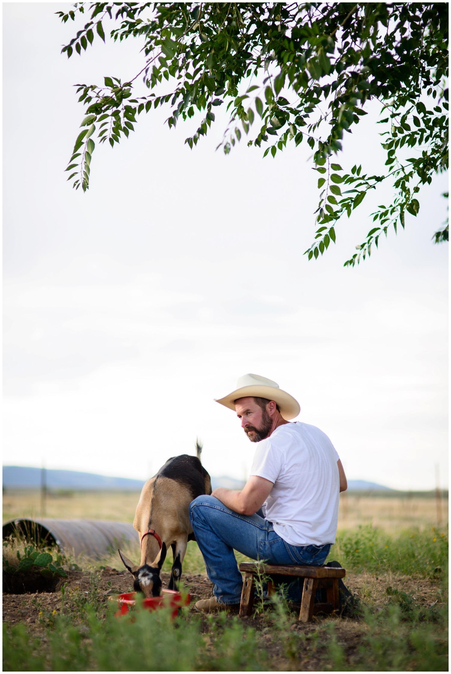 environmental portrait f farmer Boulder co