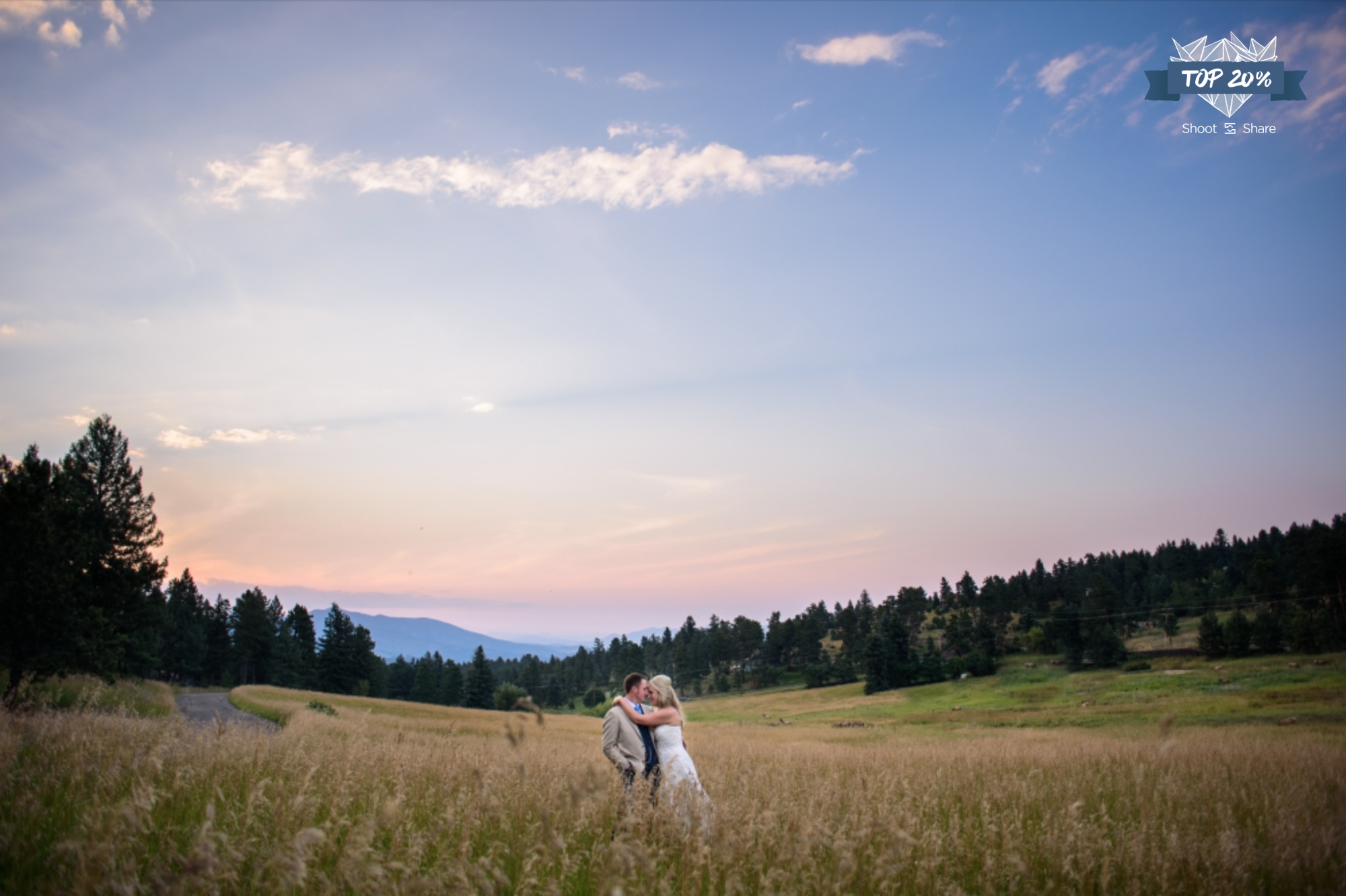 Enjoying the Sunset and Wildlife during this Wedding; The Meadows at Marshdale, Evergreen, Colorado