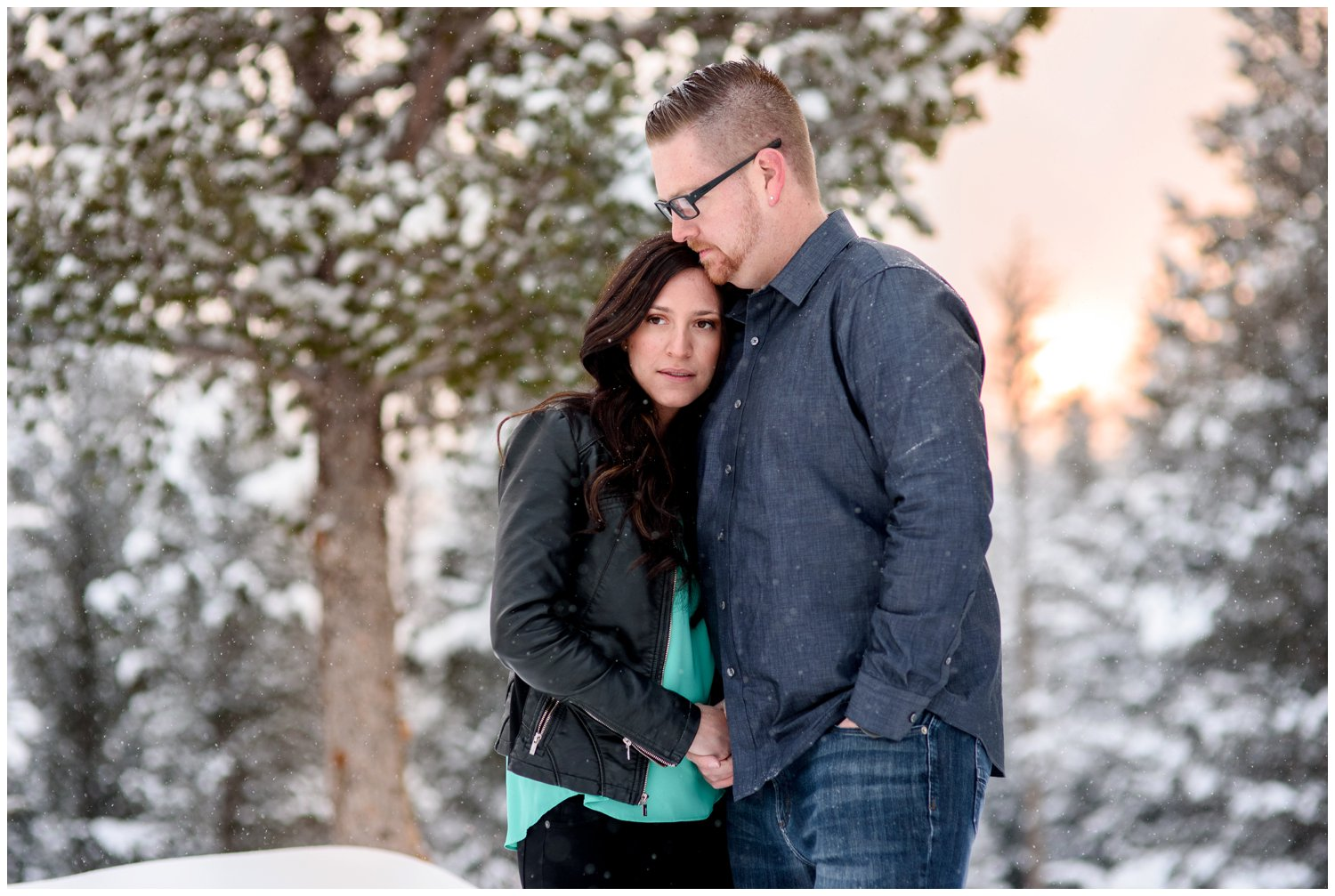 estes park engagement photo on mountain at sunrise