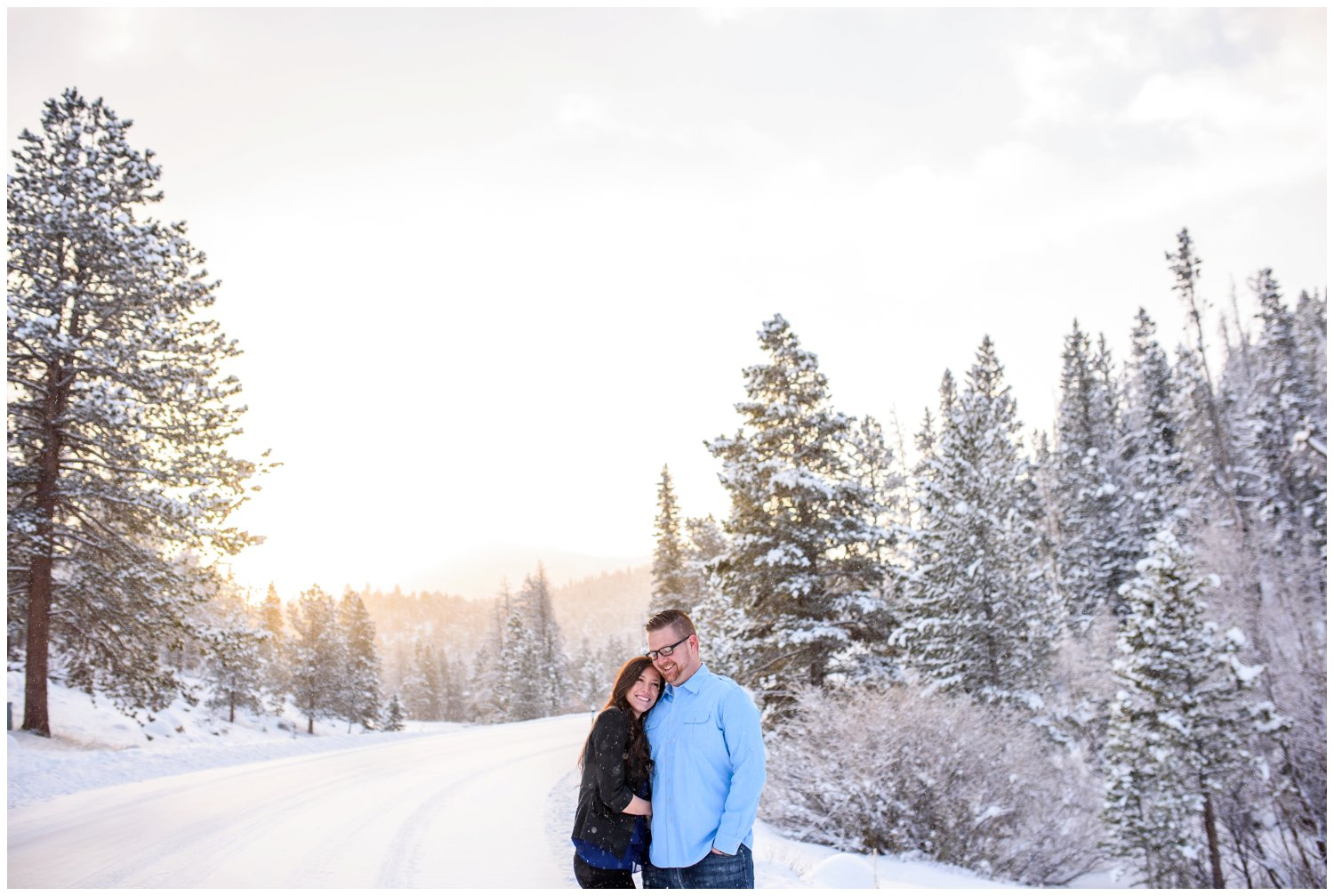 sunrise engagement photo in rocky mountain national park