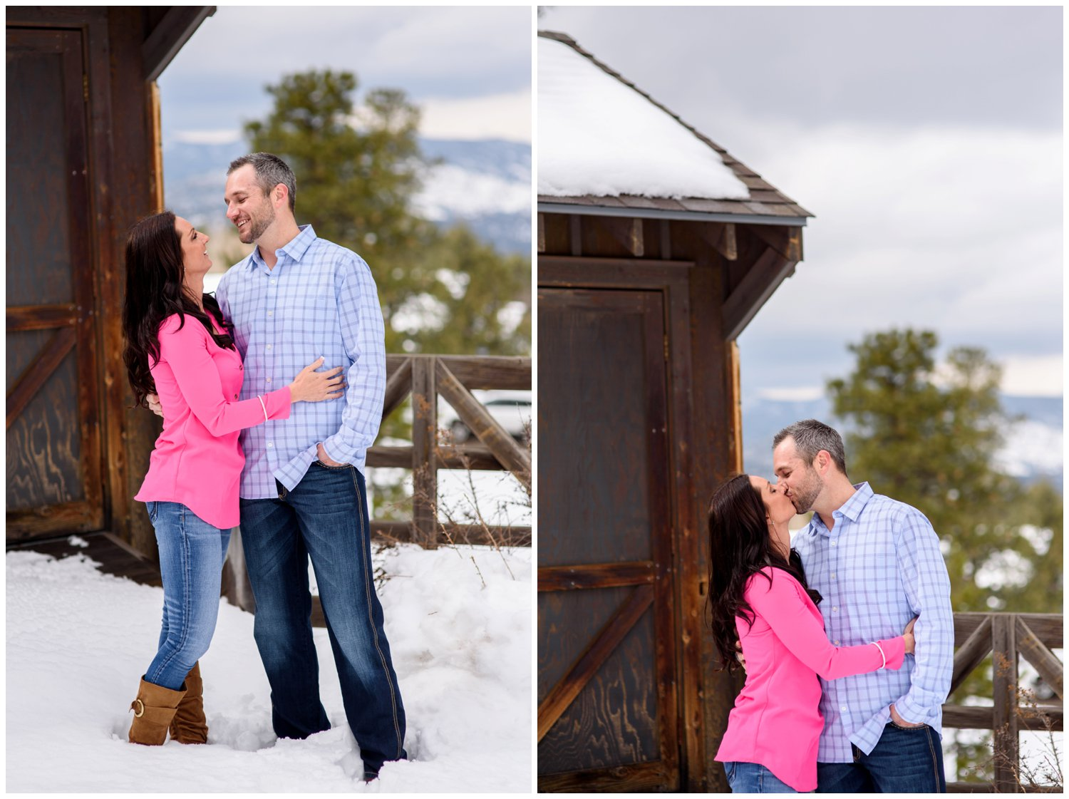 engaged couple look at each other in mountain snow