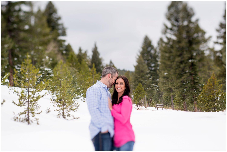 snowy Evergreen mountain engagement tilt-shift photo
