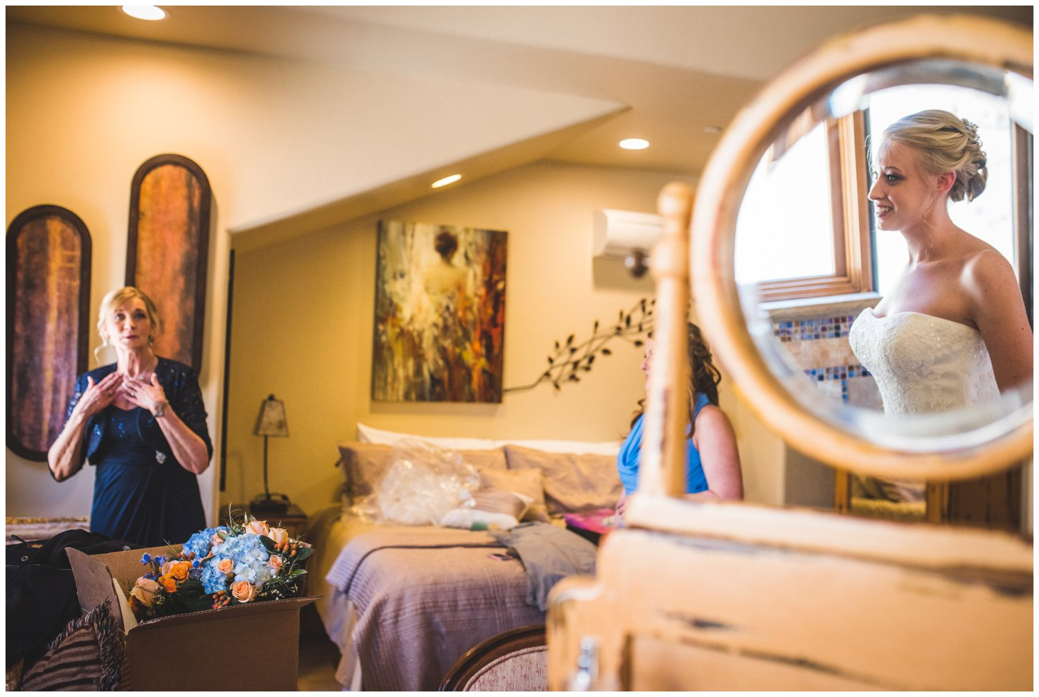 creative bride getting ready reflection photo