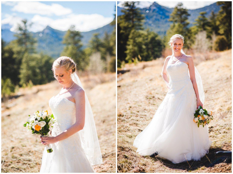 beautiful mountain bride in Colorado sun