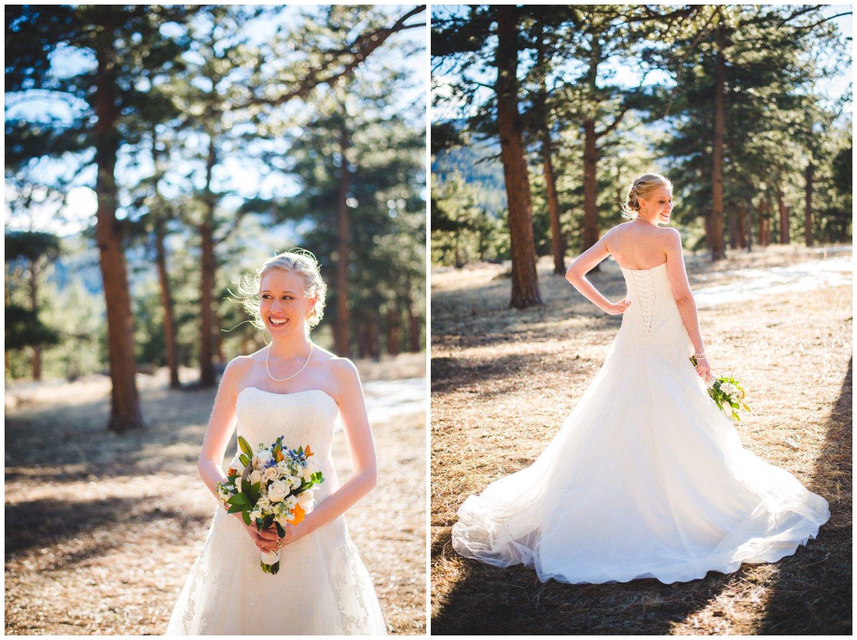 sunlit bridal portraits in Estes Park