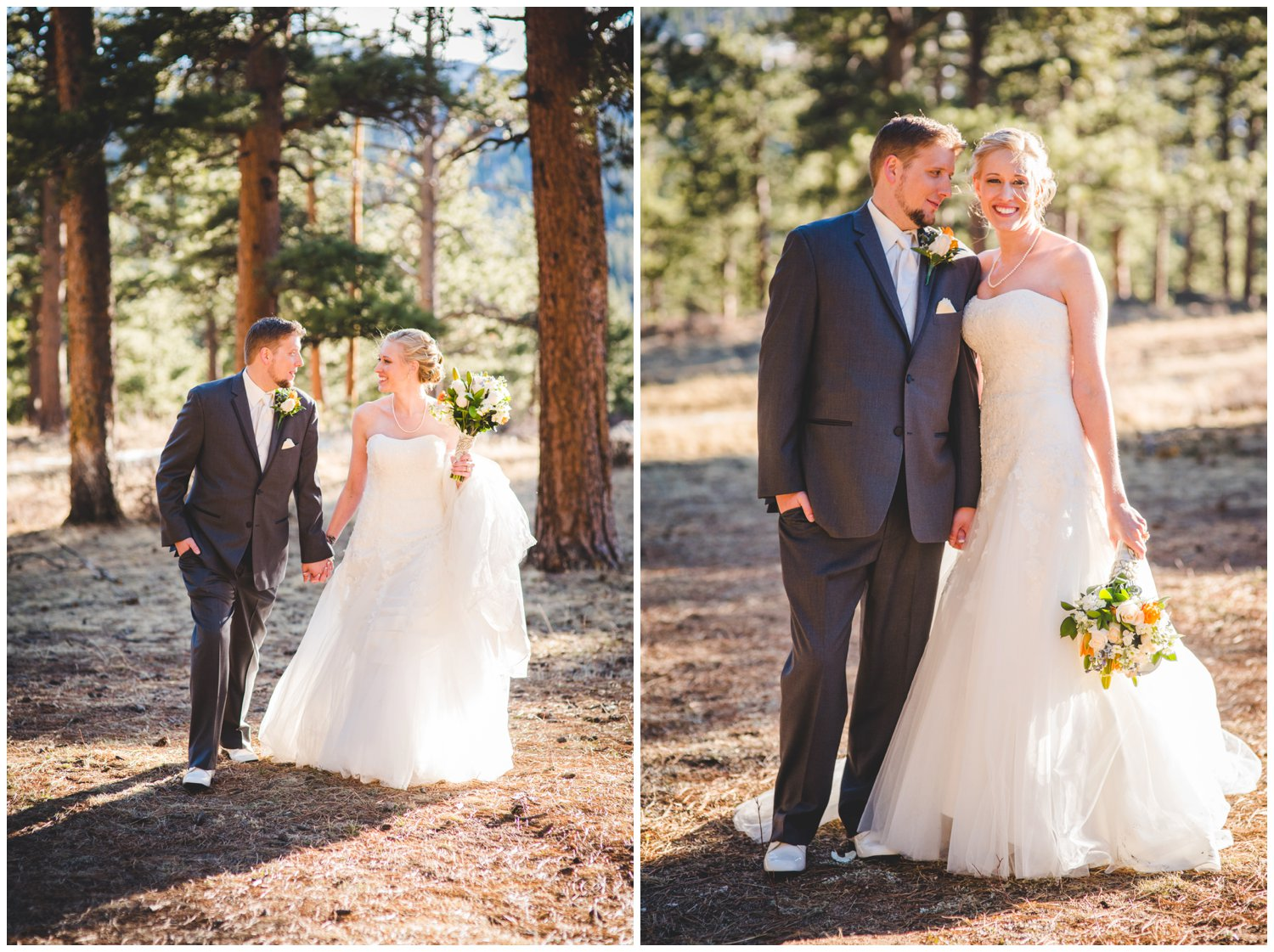 Bride and groom photos in sunny Pine trees