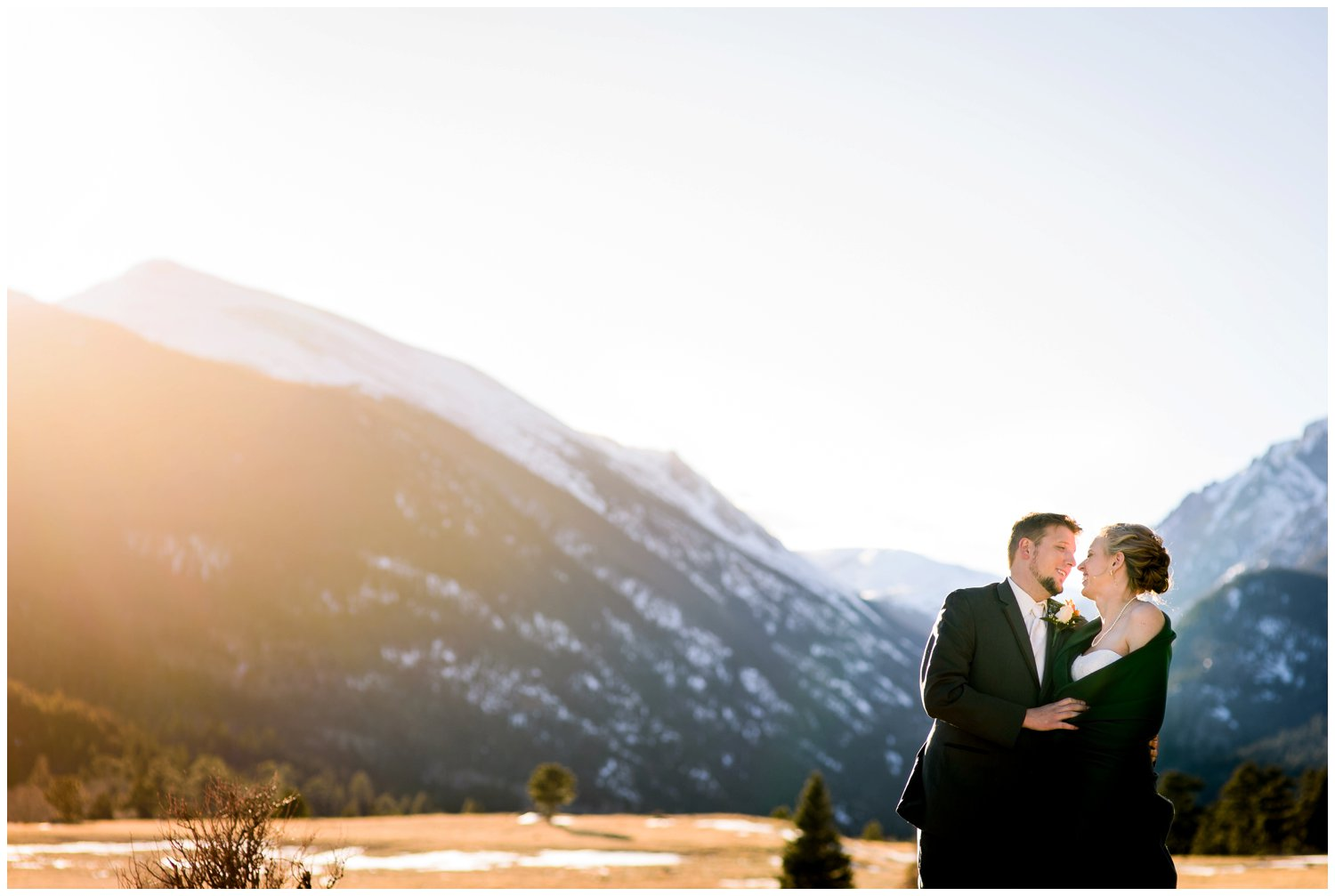 sunset wedding photo in Rocky Mountain National Park