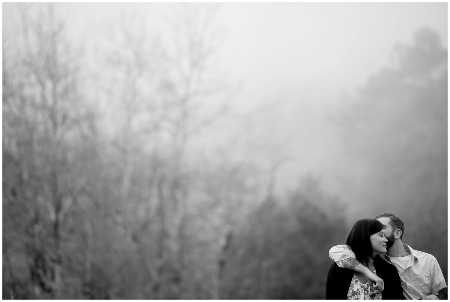 misty early morning black and white engagement photo