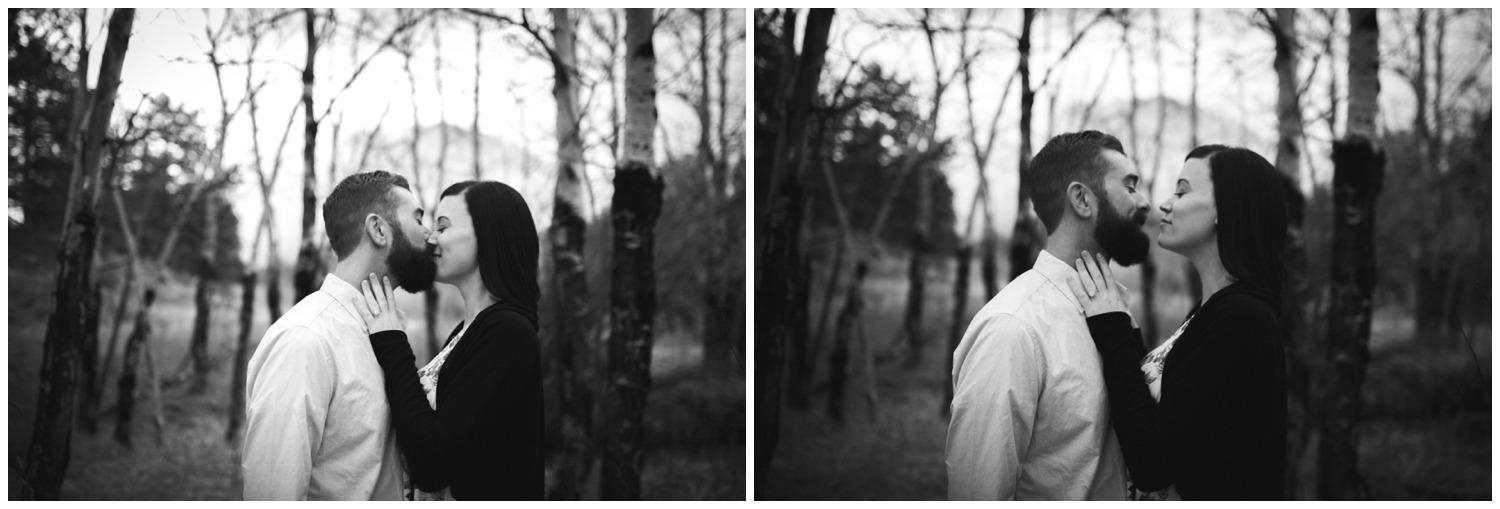 moody engagement photos in aspen tree forest