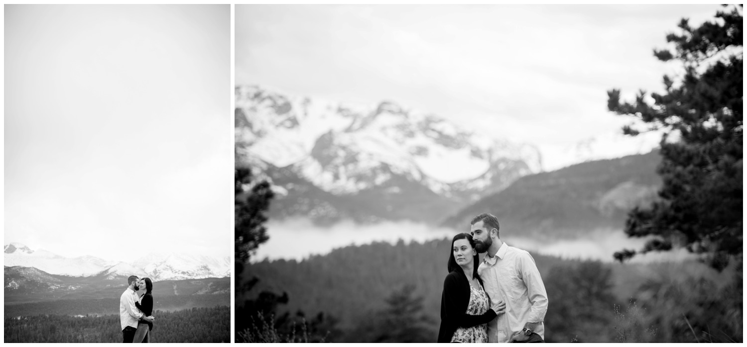 artistic black and white mountain engagement photo
