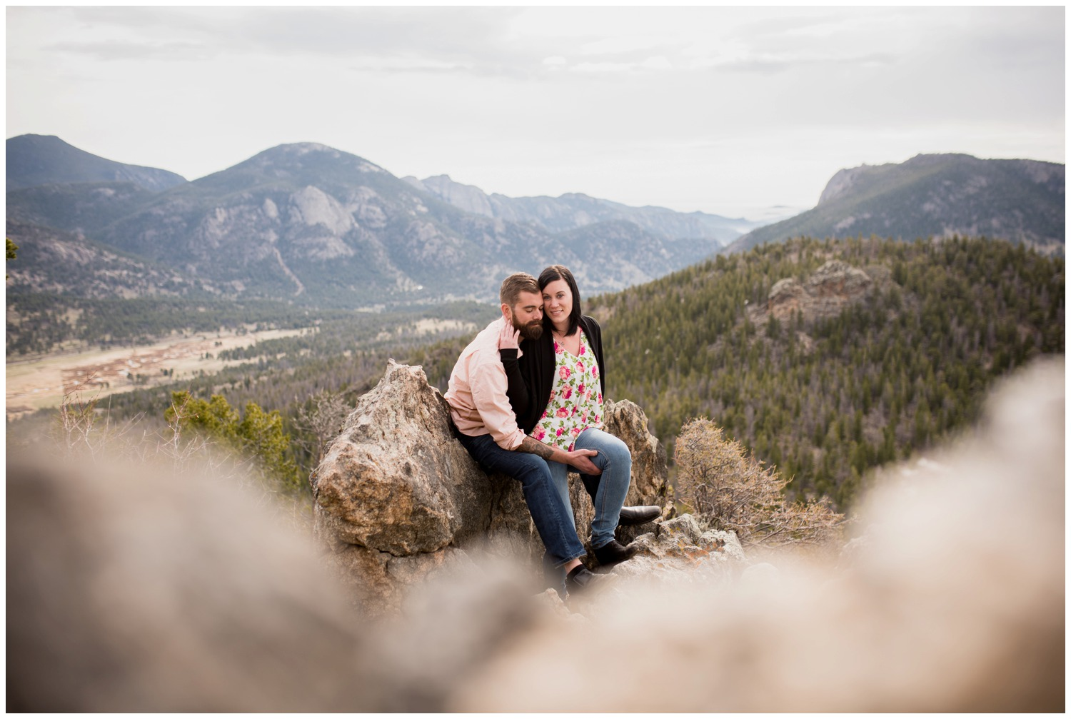 colorado engagement photo on mountain top