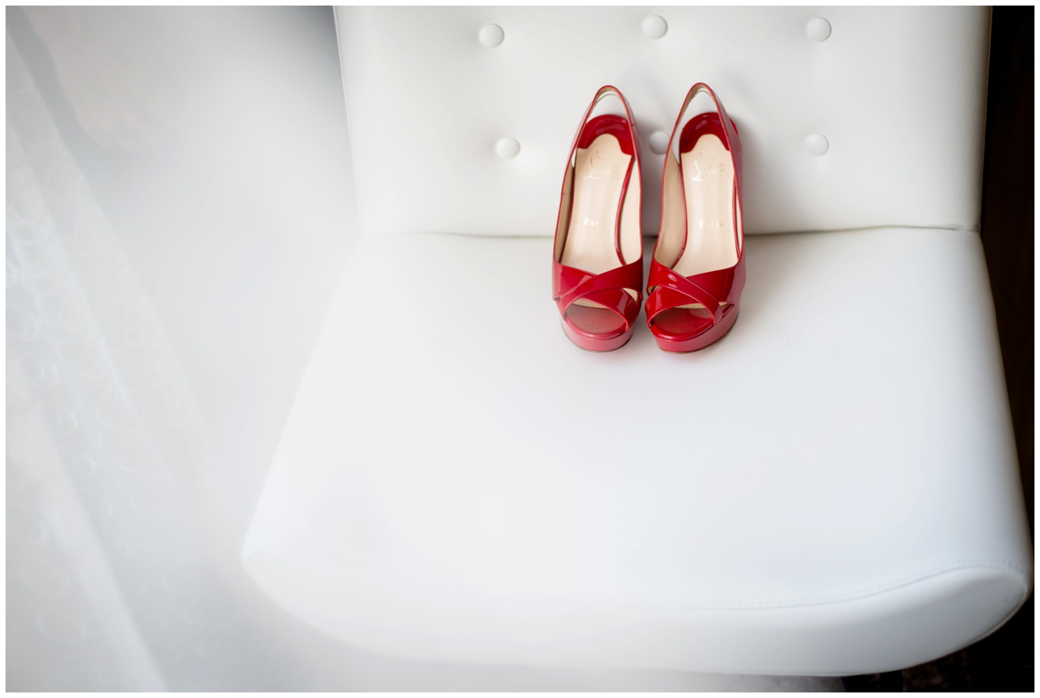 creative photo of Red Louboutin wedding shoes