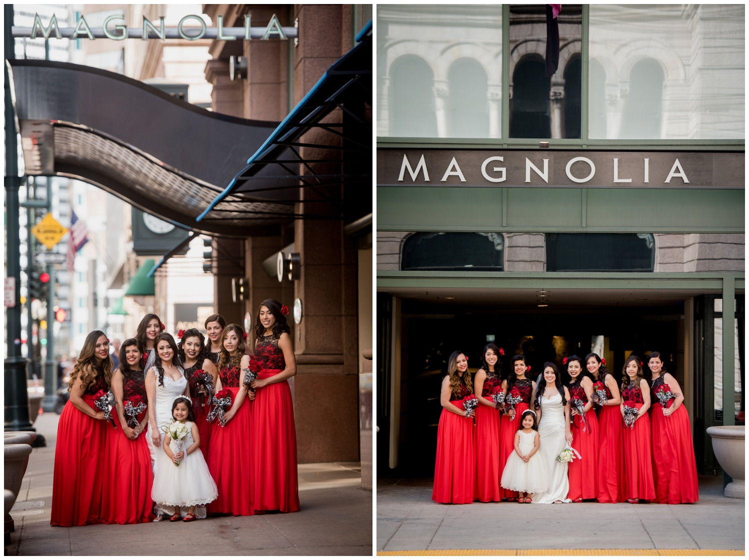 bridesmaids in black and red in city