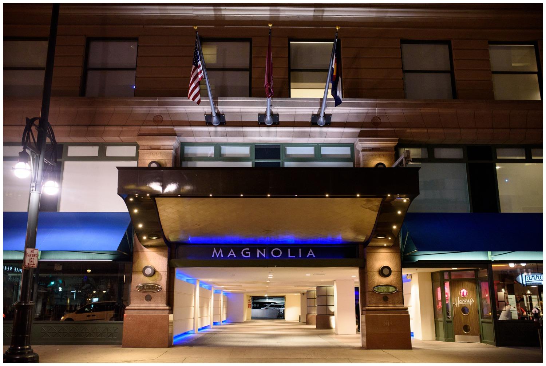 Magnolia Hotel Denver at night