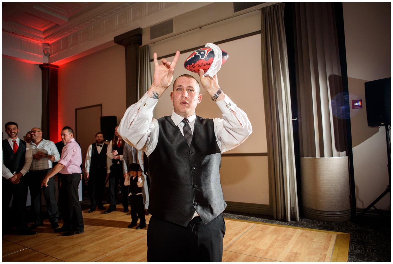 Garter toss with football