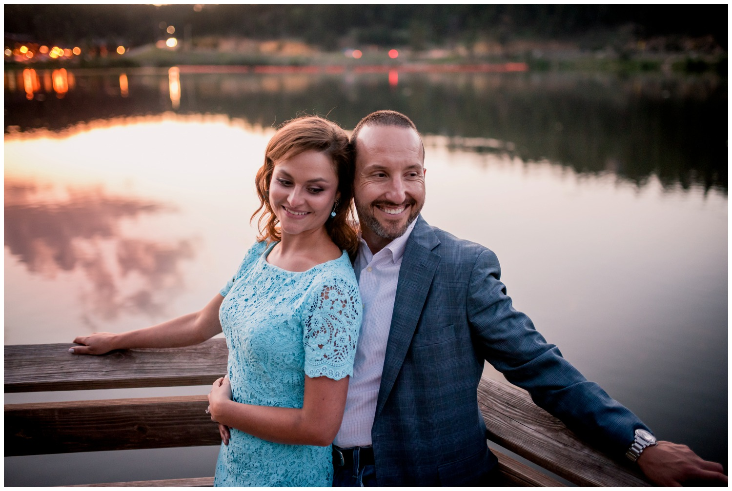 engagement photo Evergreen Lake at sunset