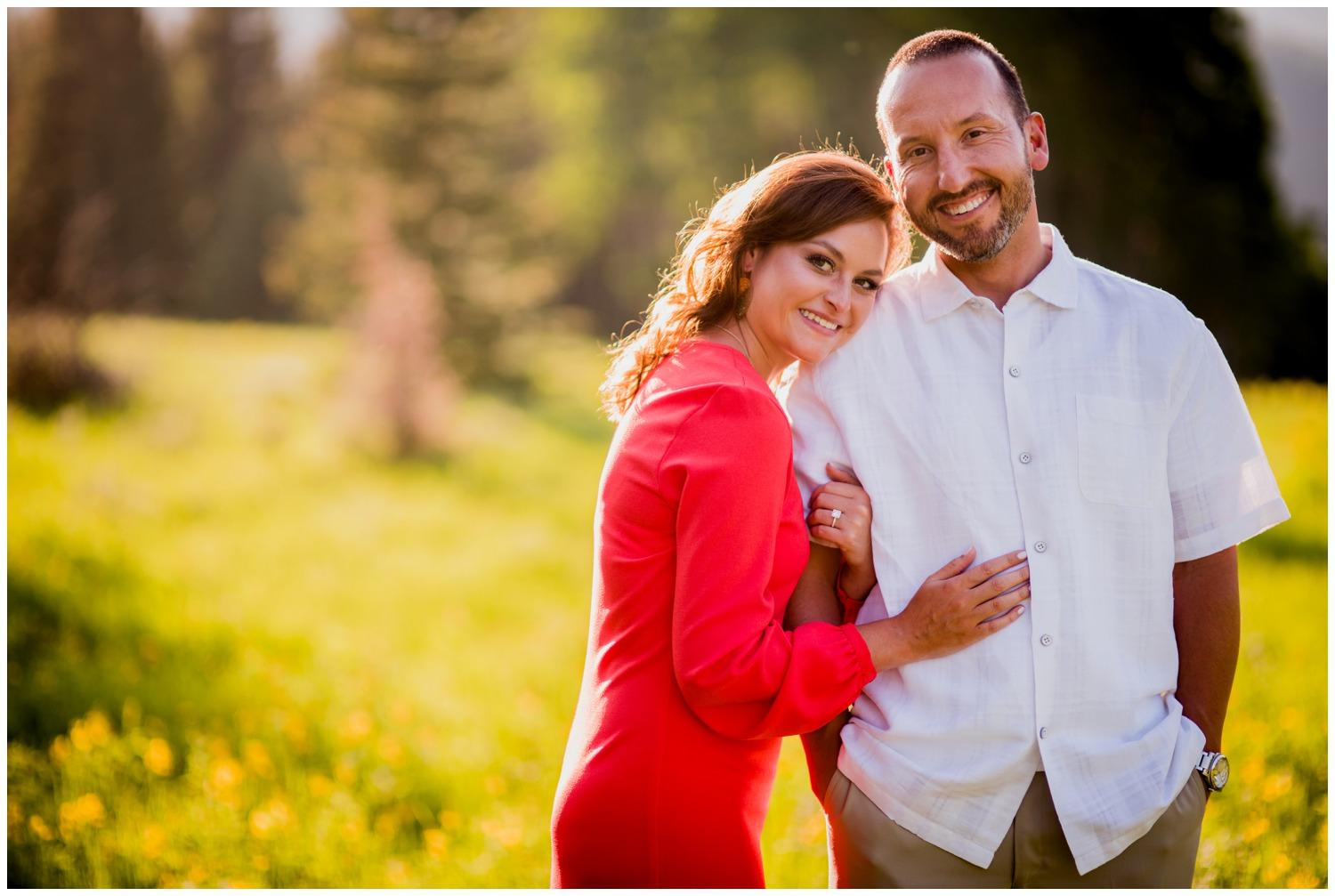 evergreen colorado mountain sunset engagement