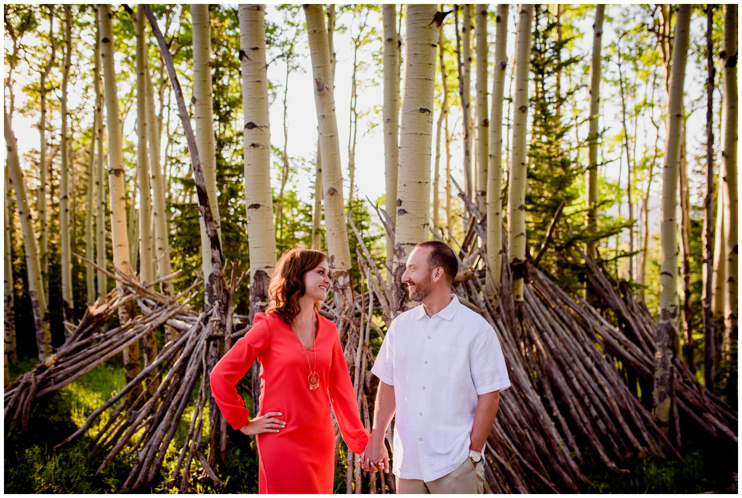 engagement photo in Aspen tree forest