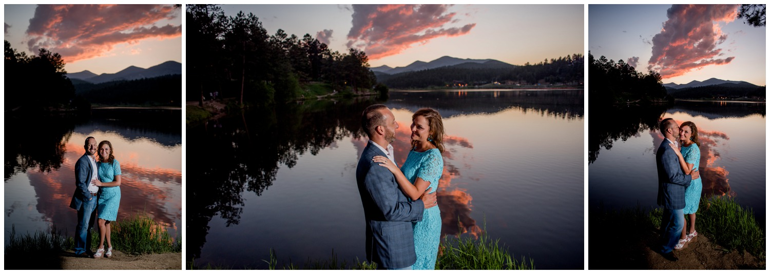Evergreen colorado sunset engagement photo on lake