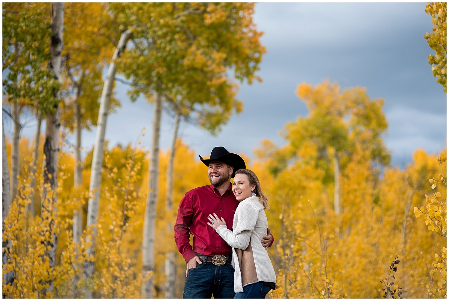 fall mountain engagement photo yellow aspens